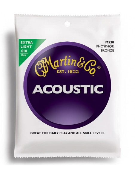 Струны для гитар MARTIN M530 Traditional Acoustic 92/8 Phosphor Bronze Extra Light (10-47)