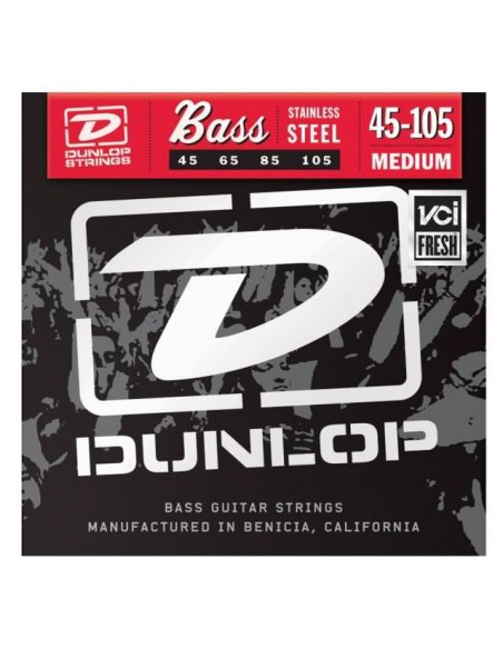 Струны для гитар DUNLOP DBS45105 STAINLESS STEEL MEDIUM 45-105