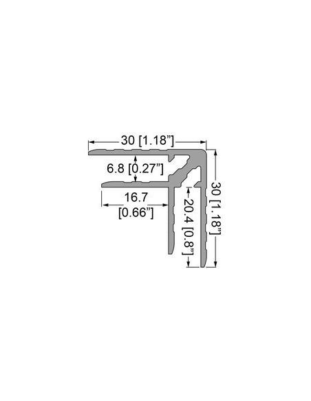Профиль 0153. Двойной уголок . Кейсмейкер для панелей 6,8 мм. 30мм х 30мм с толщиной стенки 1,5 мм.