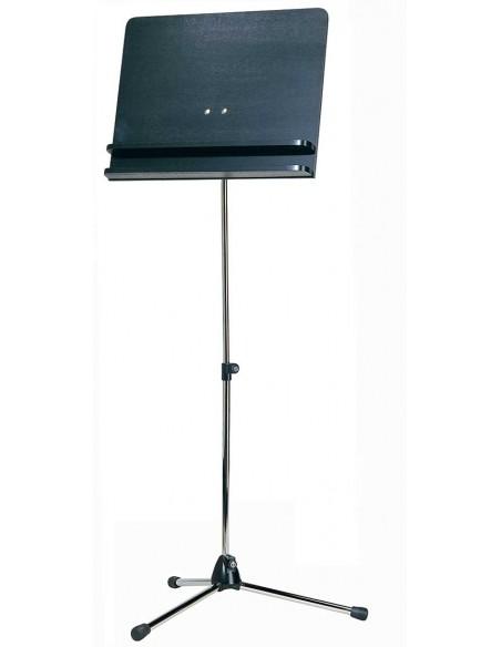Konig & Meyer 11832-000-01 Оркестровый пюпитр, никелированный штатив, черный деревянный планшет