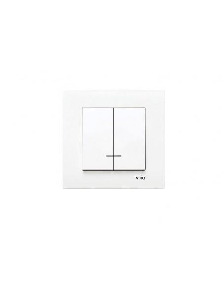 Выключатель VIKO KARRE белый двухклавишный с подсветкой